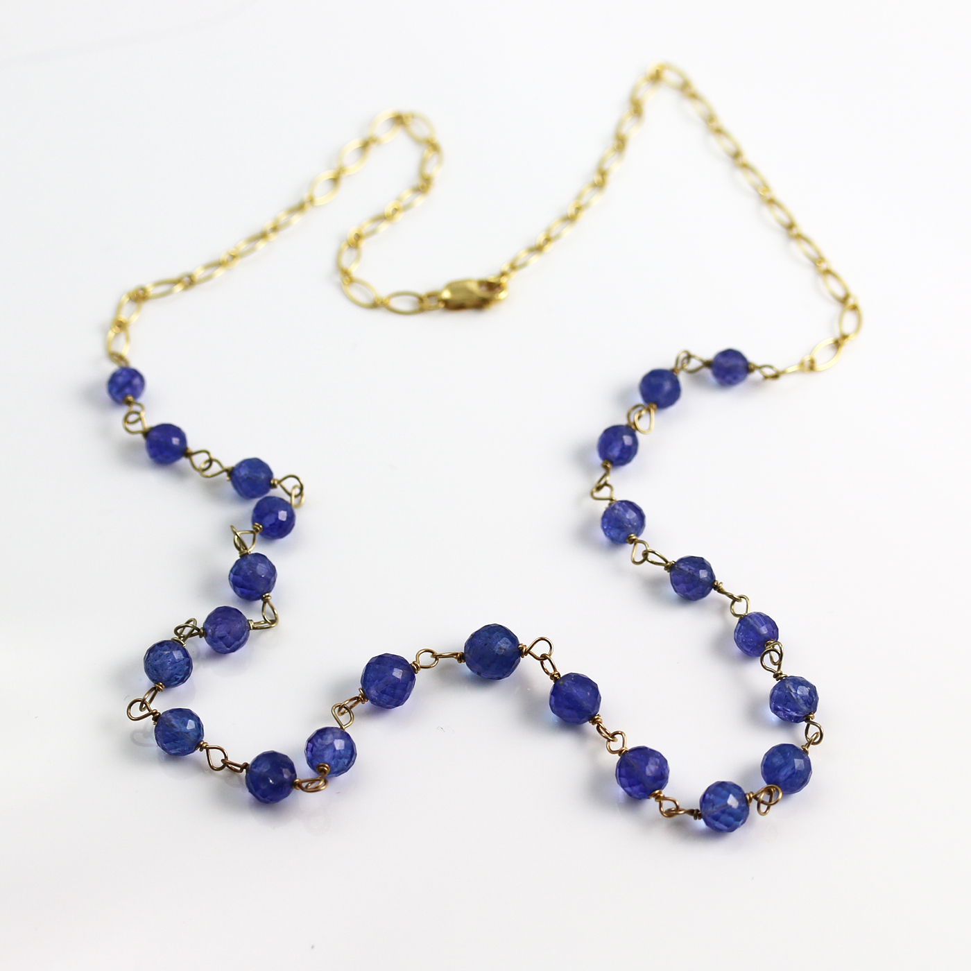 tanzanite bead necklace in 14k gold mccrystal
