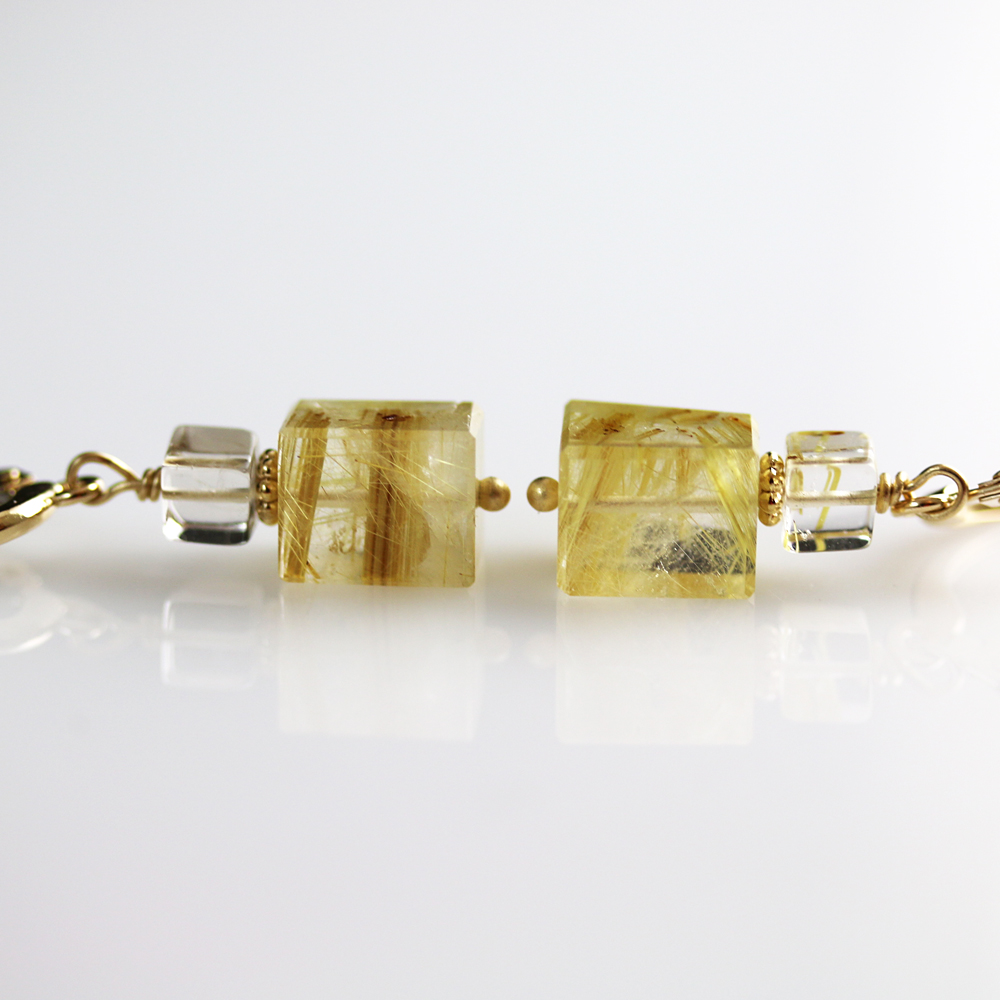Rutilated quartz earrings in 14k gold jill mccrystal for Golden rutilated quartz jewelry