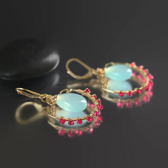 earrings_aqua_chalcedony_pink_quartz_wire_wrapped_gold_3366
